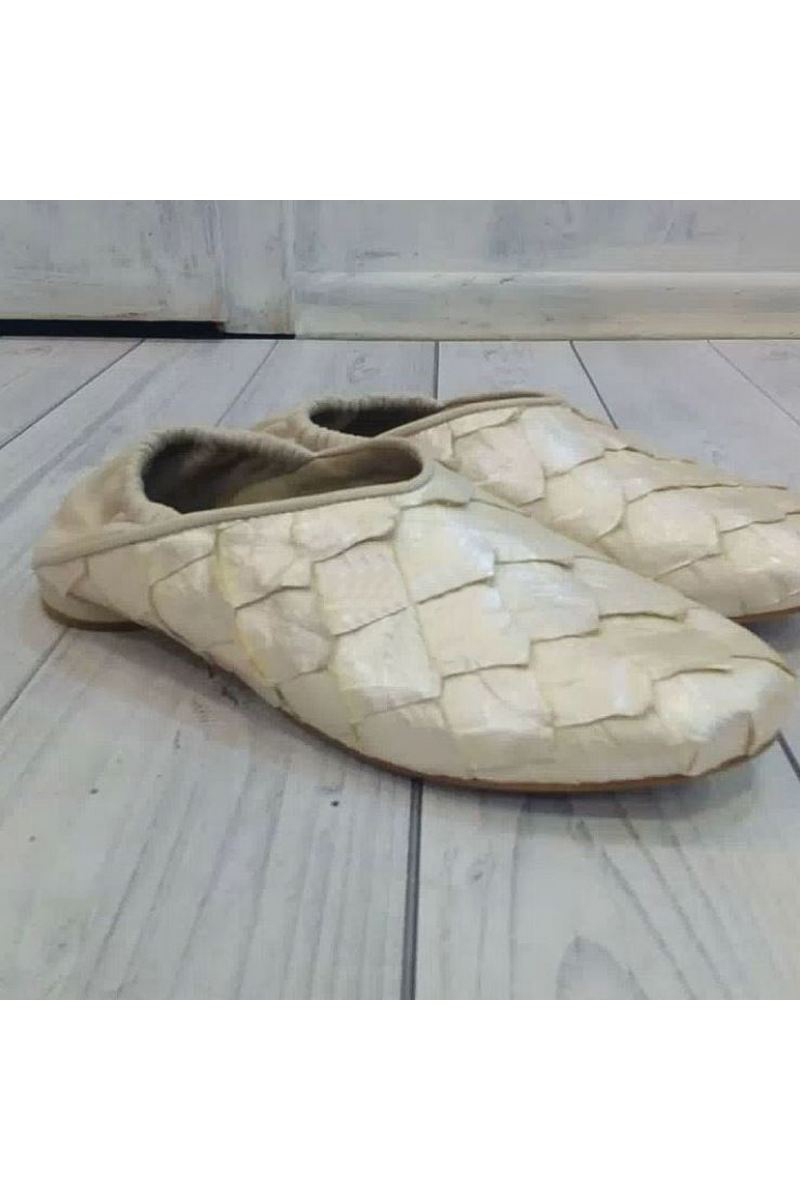 Buy Leather white scales shoes slippers, designer's comfortable unique handmade shoes