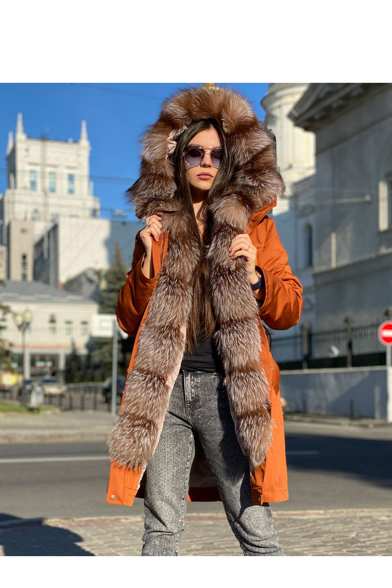 Buy Women's Parka Jacket with Real Silver Fox Fur Hood, Warm Winter Coat for Women