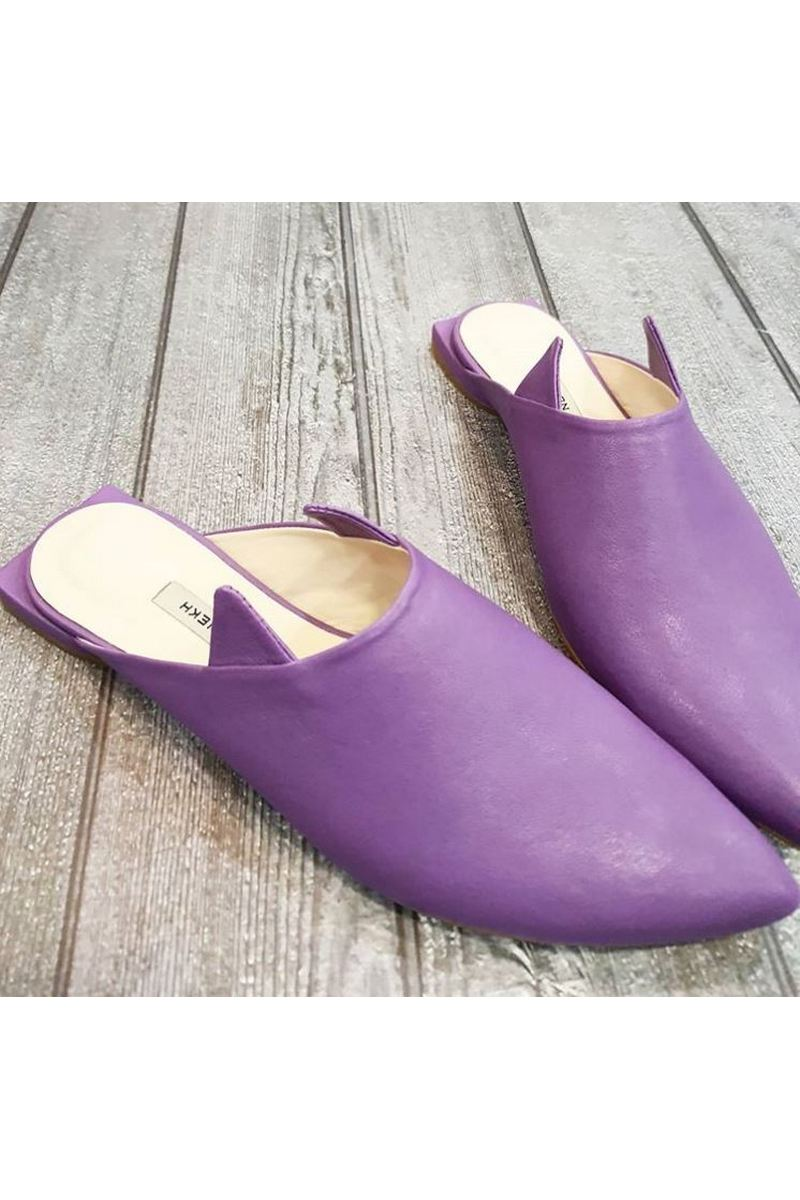 Buy Lavender leather classic women`s mules, Pointed toe casual party comfortable shoes