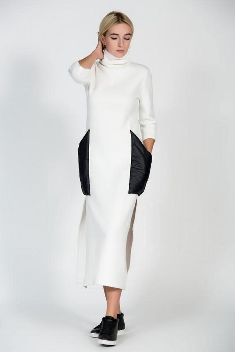 Warm angora long white dress, stylish women winter dress