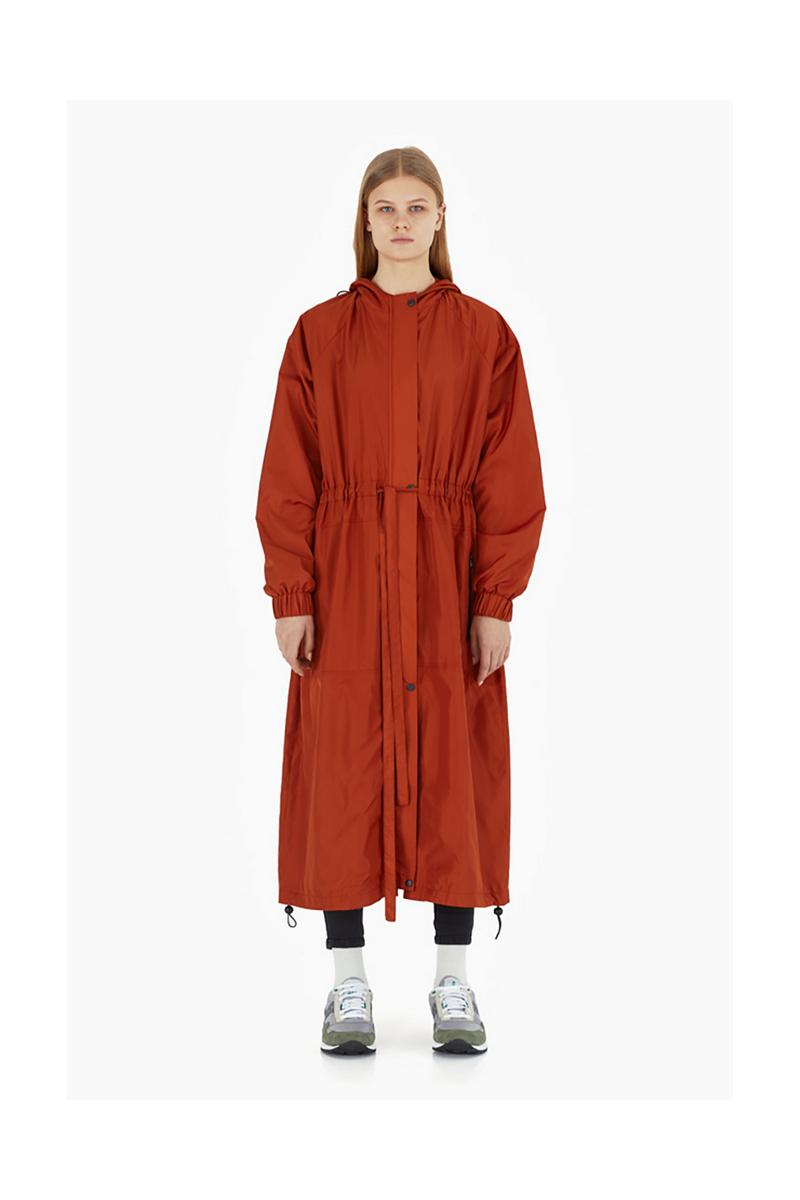 Buy Long terracotta women urban city hood zipper oversize polyester raincoat