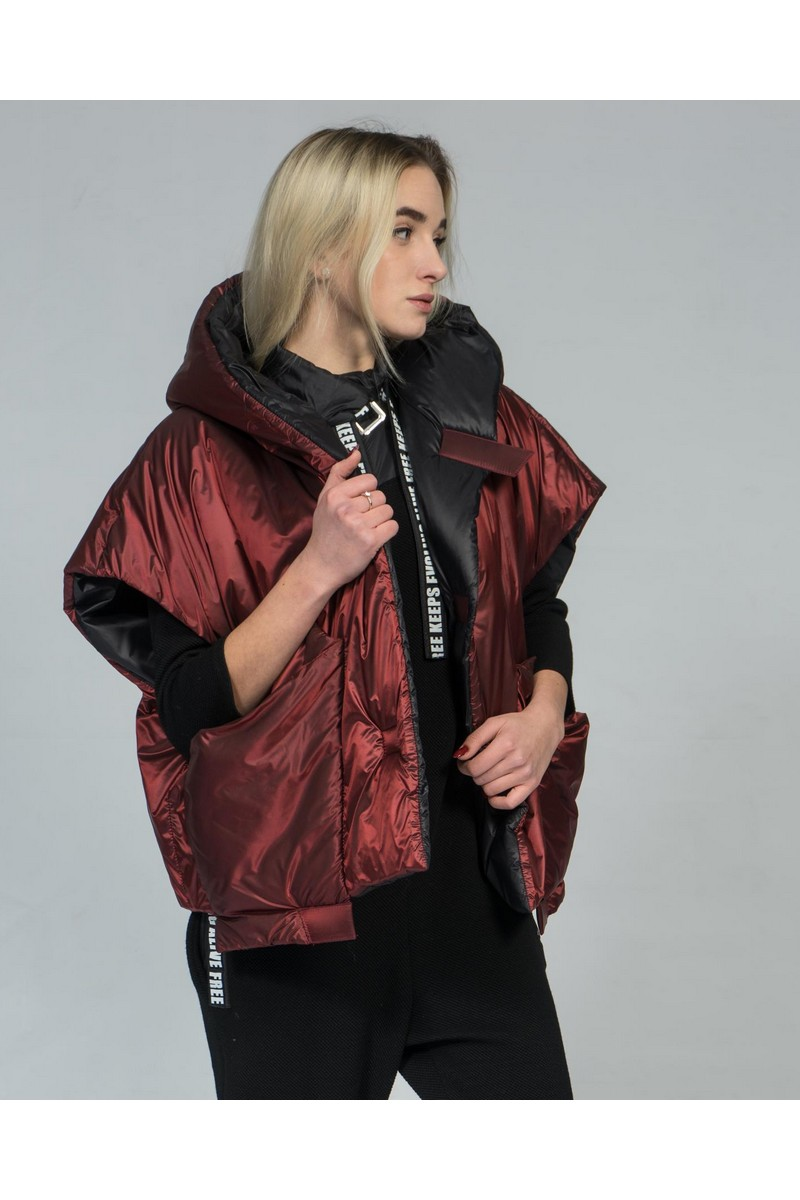 Buy Two-sided hooded loose vest, black burgundy puffer warm stylish casual vest