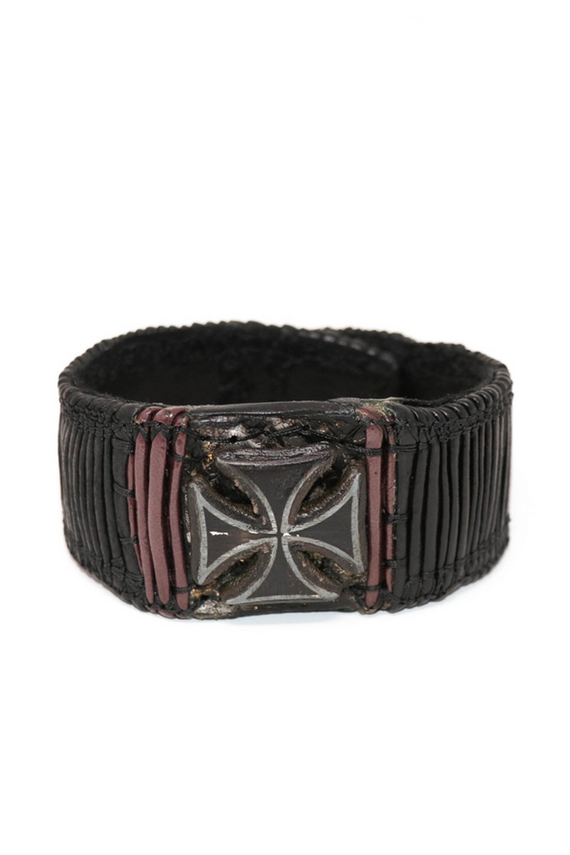 Buy Burgundy & Black Illuminating Rockstar Cross Wristband, Leather Rocknroll bracelet