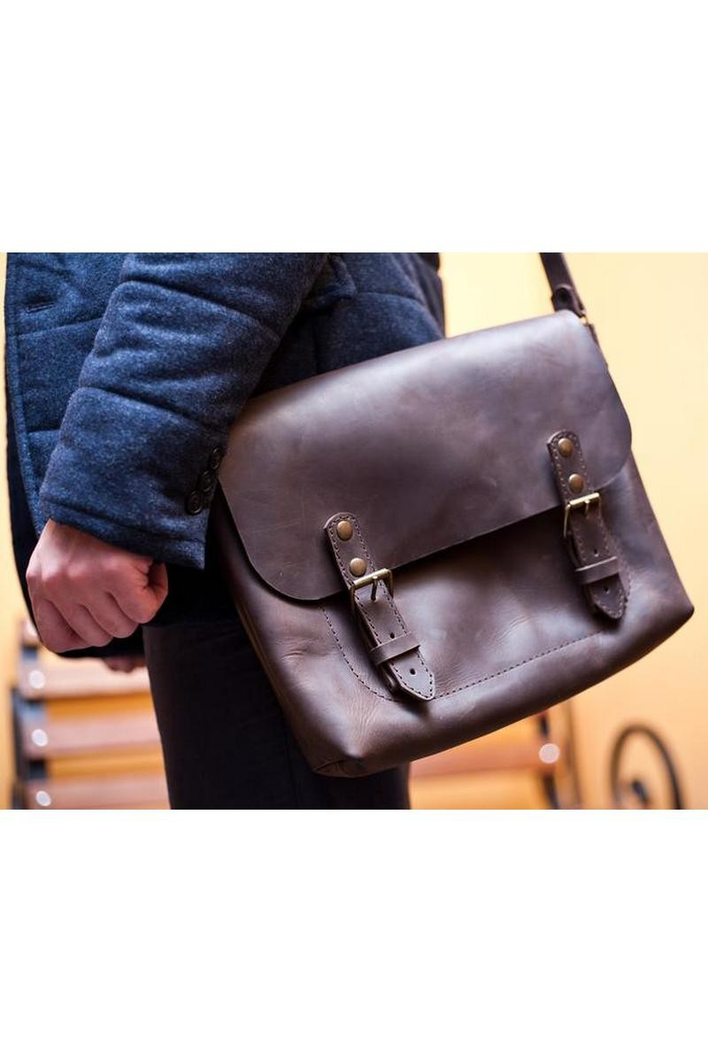 Buy Classic real leather brown women men crossbody messenger bag