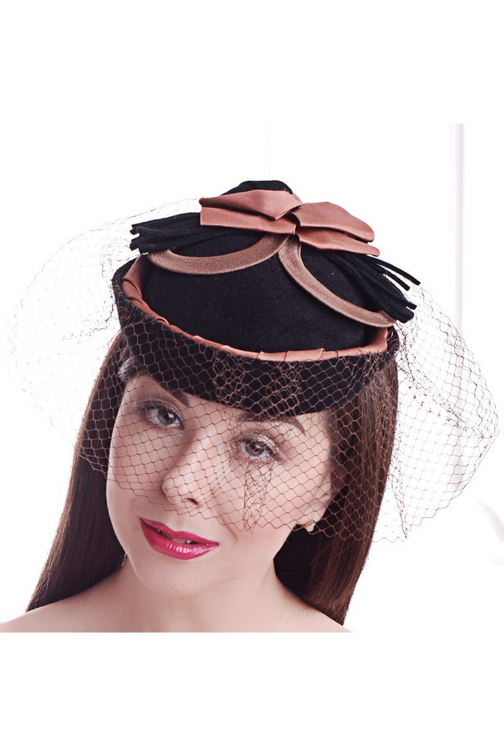 Buy Black exclusive felt women's pillbox hat with veil in retro style, Unique designer stylish hat