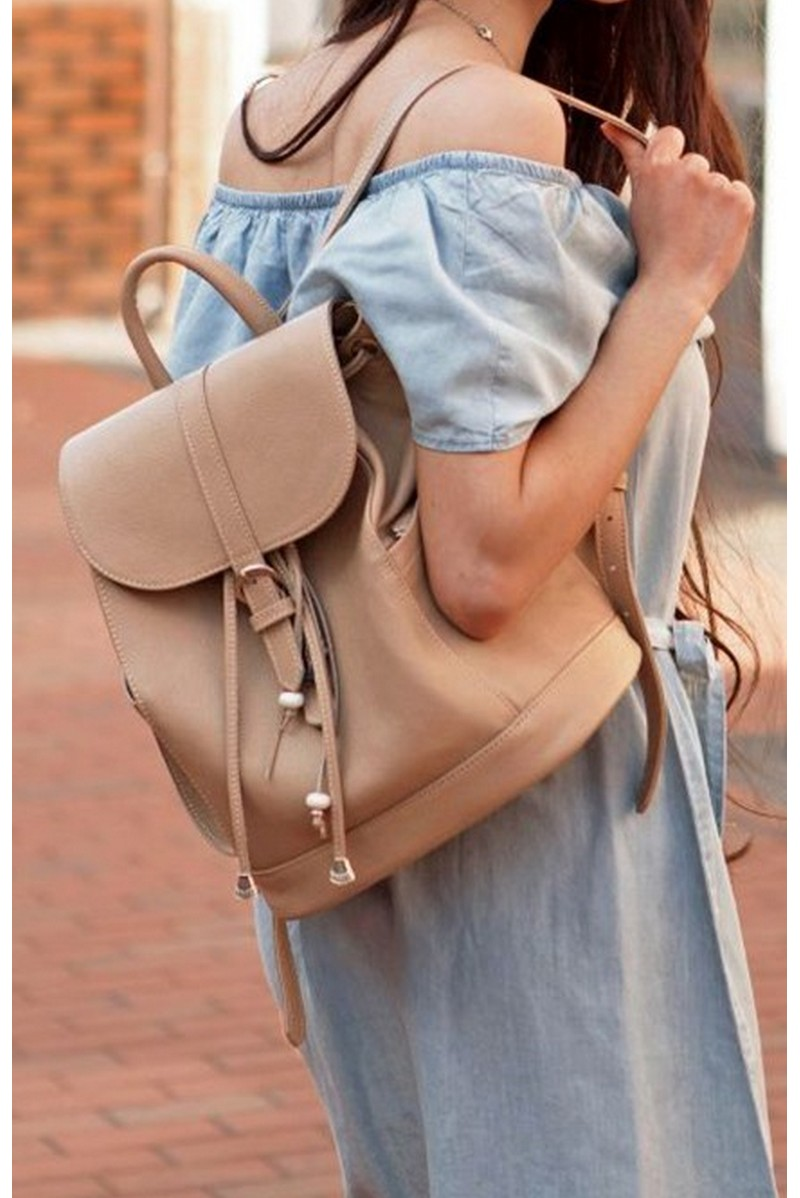 Buy Beige women`s real leather boho comfortable stylish backpack, designer functional backpack