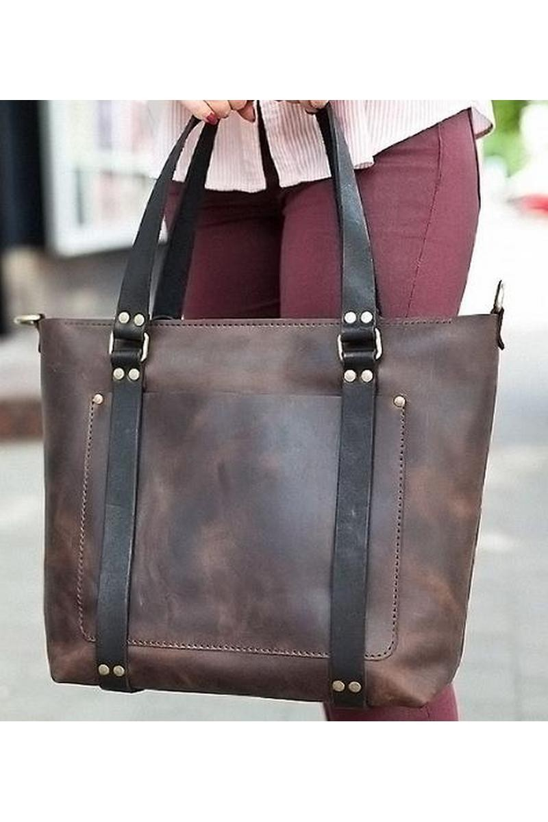 Buy Leather brown comfortable casual syulish women`s classic shopper bag