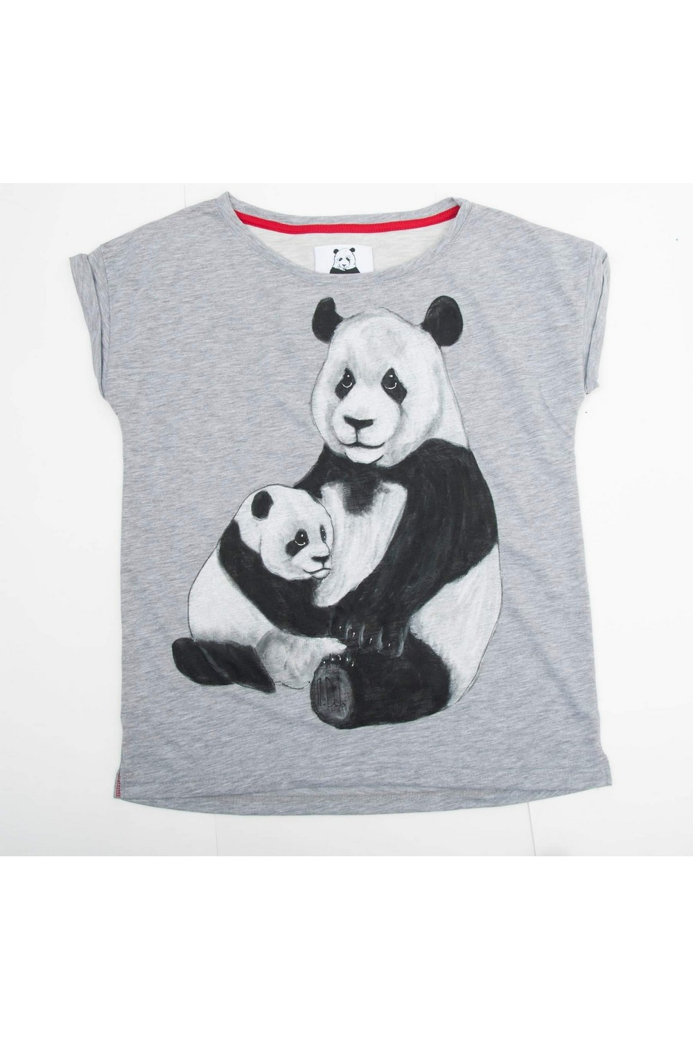 Buy Unisex Comfy Gray Cotton Print tee shirt , Short sleeve Panda tshirt, Unique stylish t shirt