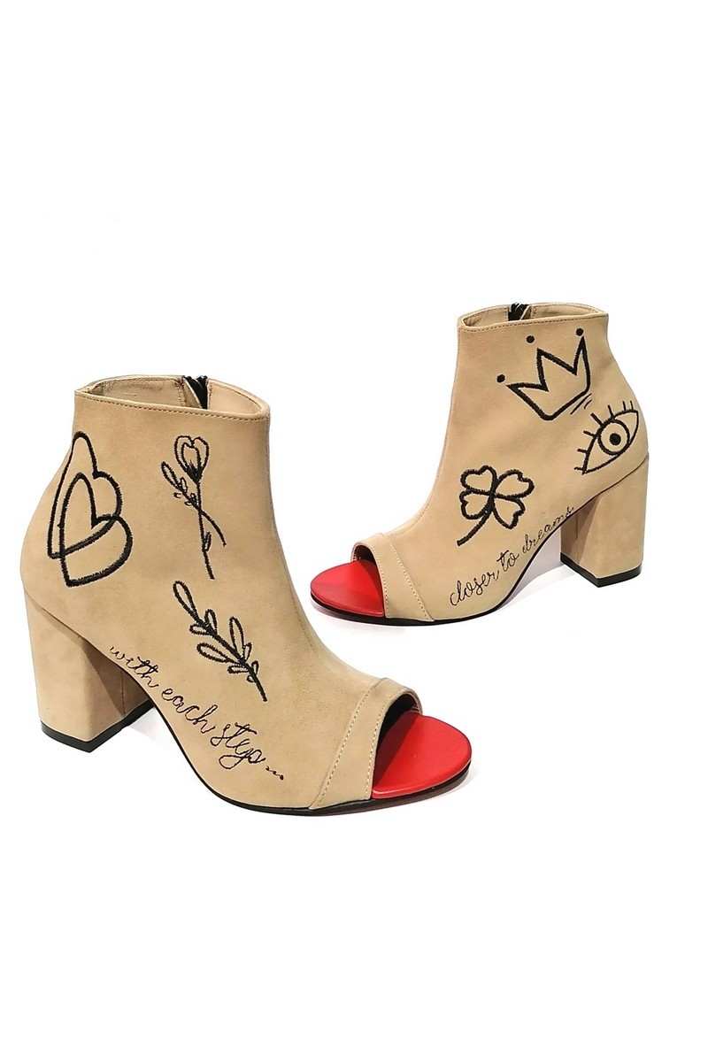 Ankle boots suede embroidery, beige heel zipper open toe summer ankle boots