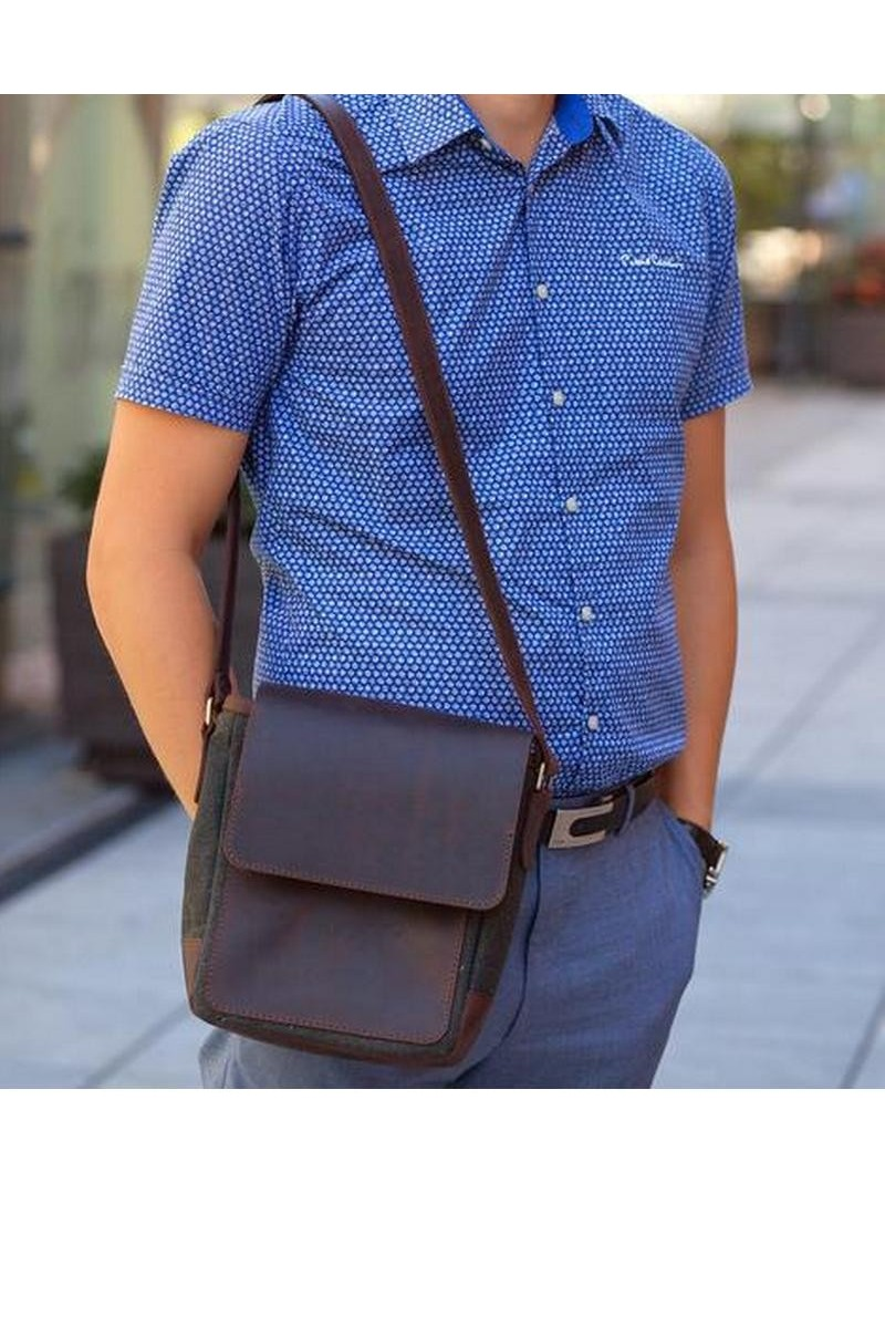 Buy Messenger Crossbody Brown shoulder real leather handmade men`s bag