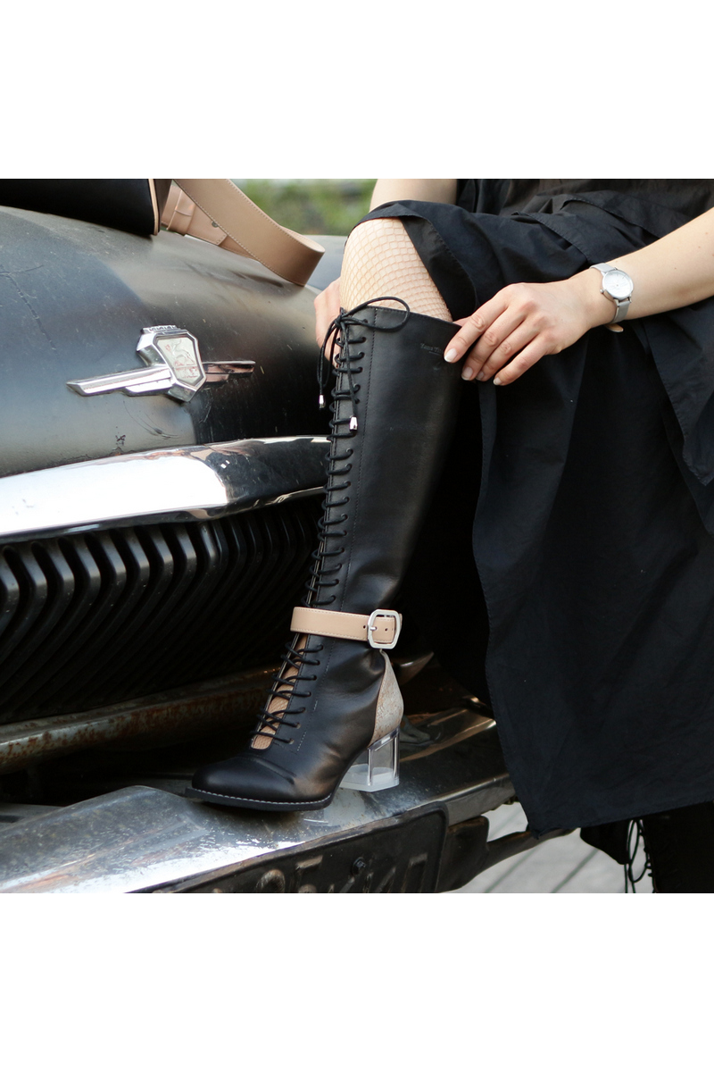 Buy High women heel leather boots lacing zipper strap black party boots