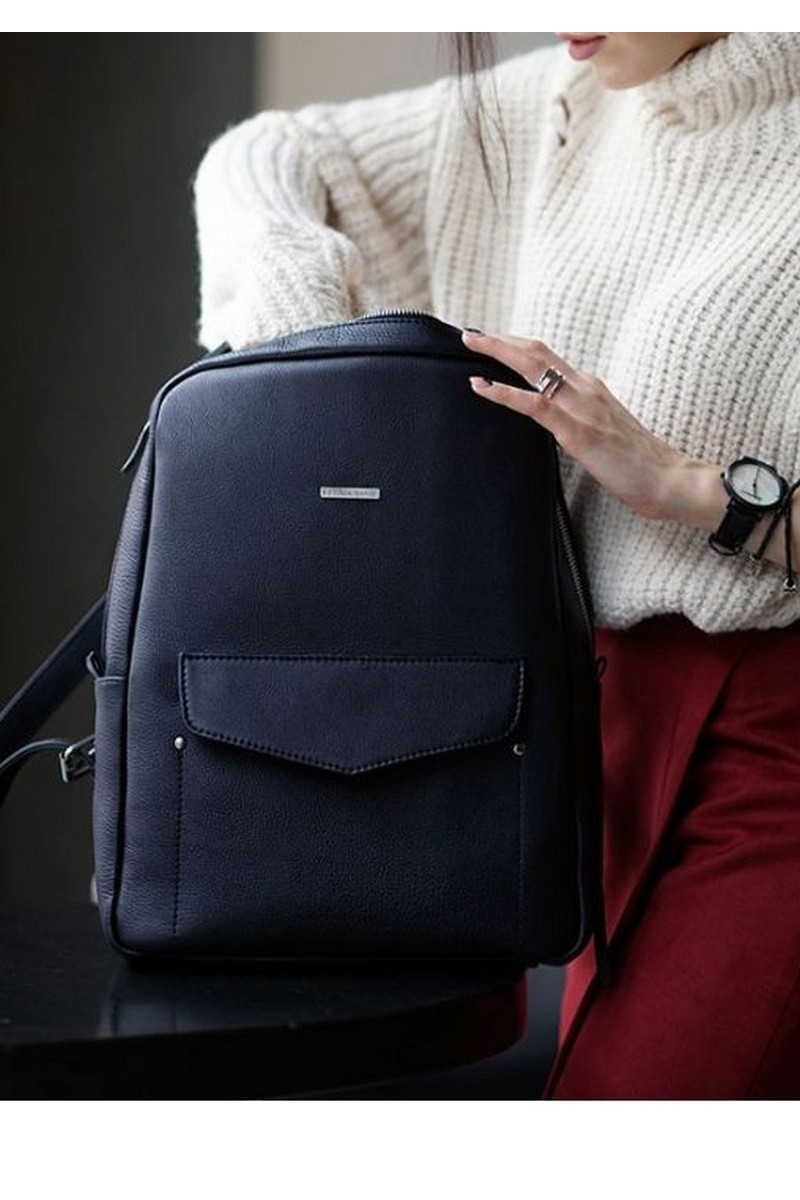 Buy Blue women`s smart casual urban leather backpack, Comfortable practical designer backpack