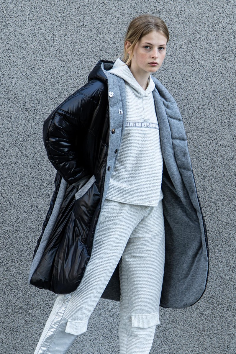 Buy Double-sided long down jacket coat, grey black buttons stylish comfortable warm coat