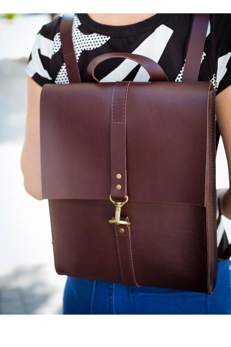 Buy Stylish comfortable women`s burgundy real leather big city backpack