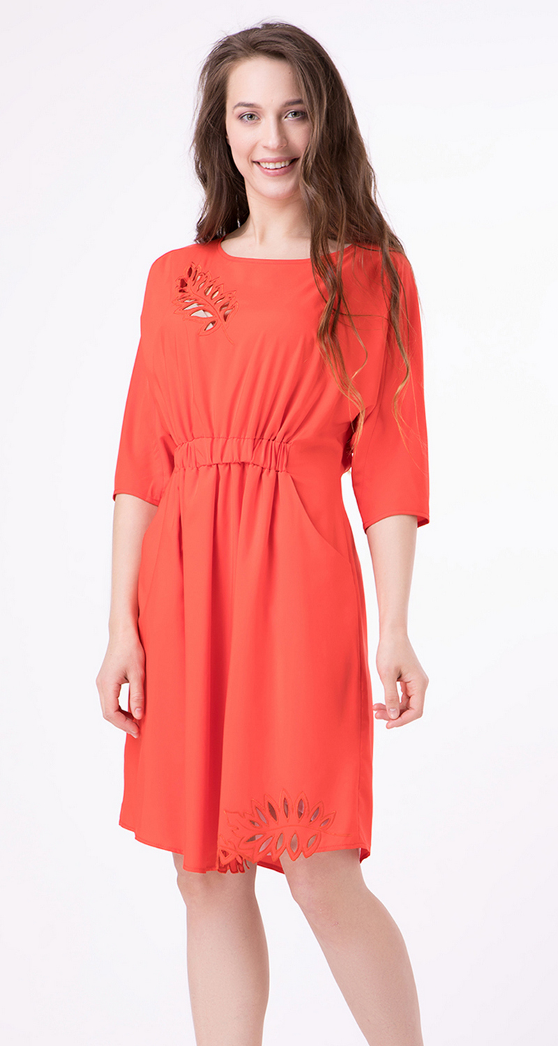 Buy Nice red women`s dress with perforation, Knee-length short sleeve dress with decor