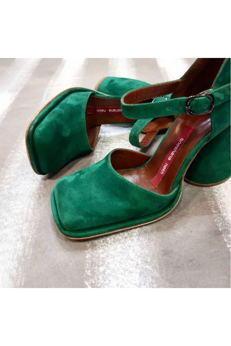 Buy Women Green Suede Comfy High Heel Square Toe Shoes Slip On Suede Office with Buckle