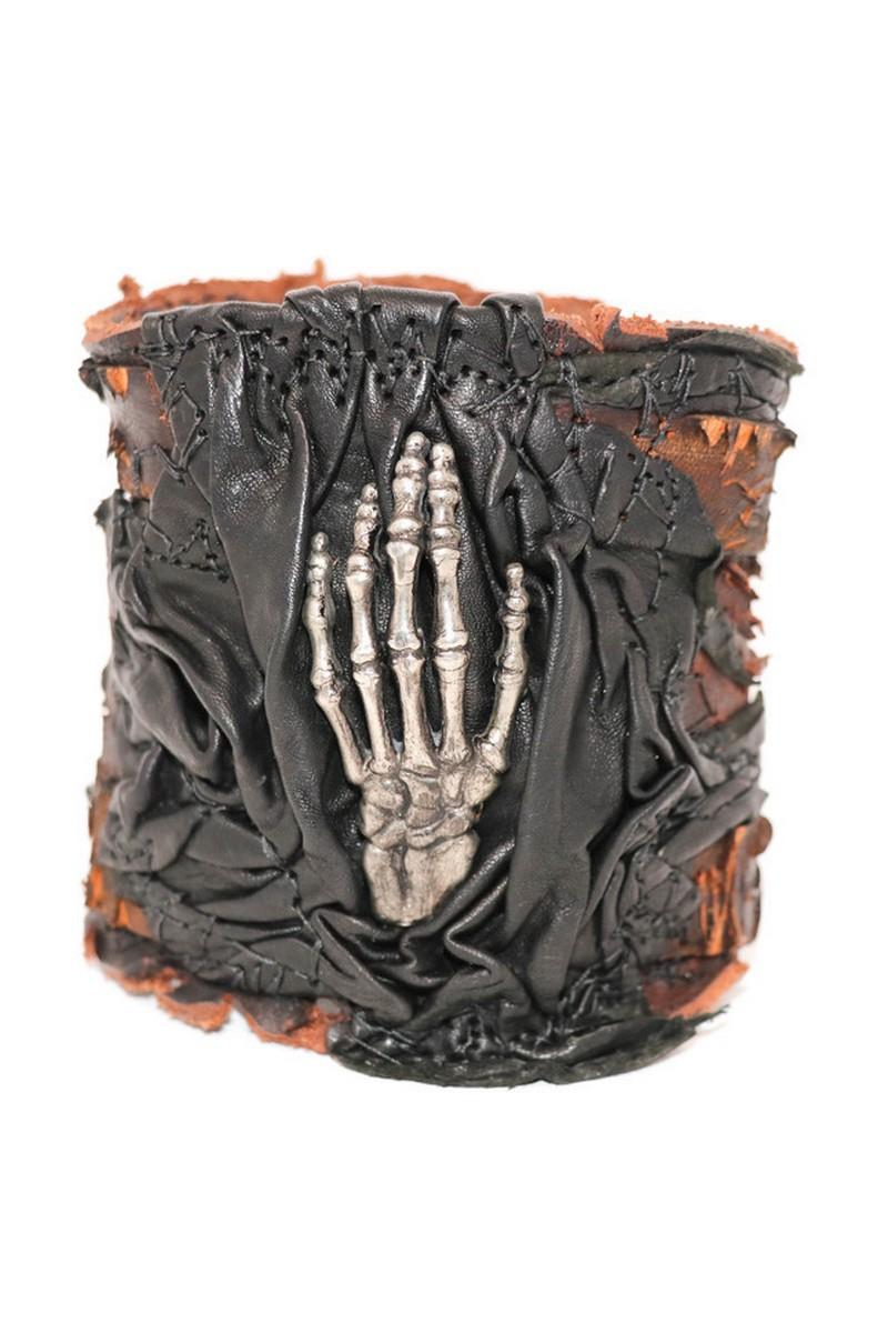 Buy Centered Raising Hand Sword Cut Leather Wristband, Rock Punk bracelet, Stylish Rockstar accessories