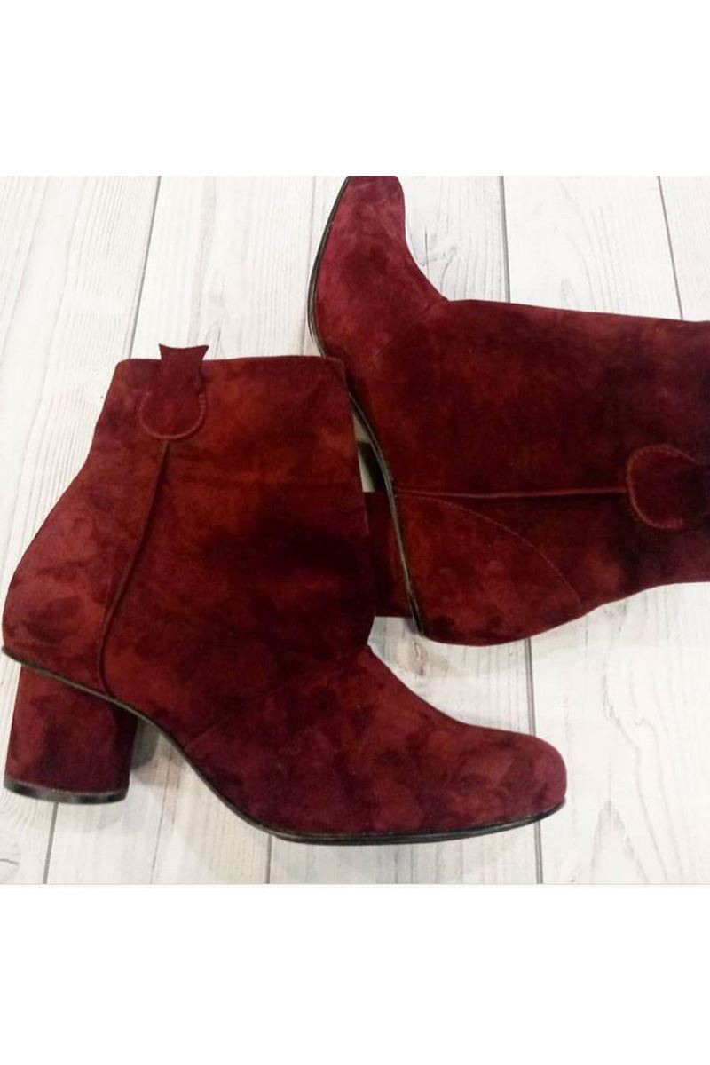 Buy Suede burgundy comfy ankle boots, casual heel round toe designer unique handmade shoes