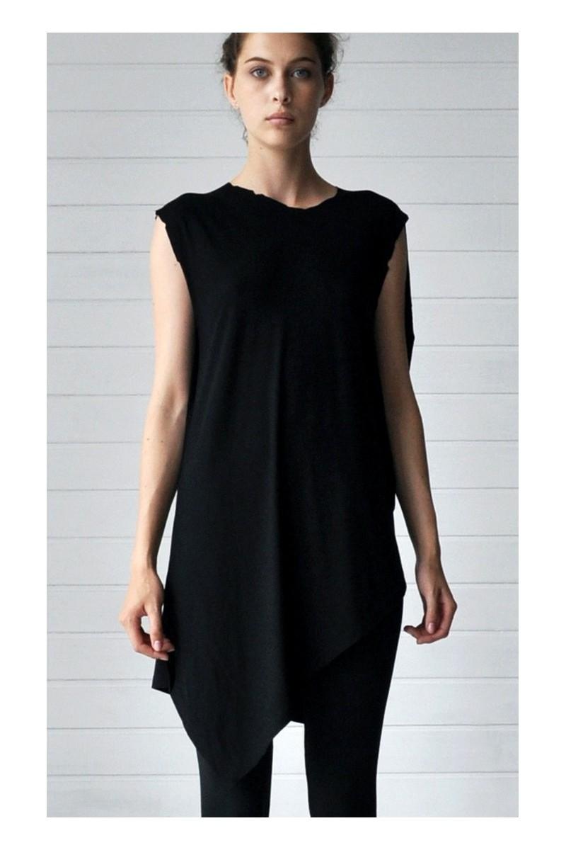 Buy Comfortable black cotton asymmetric T-shirt, party club women unique stylish designer architectural cut tee