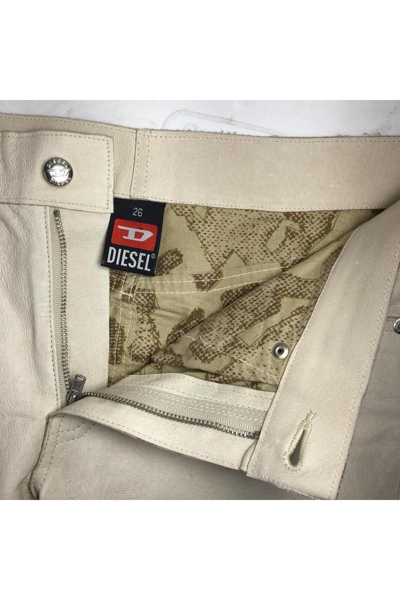 Real leather shorts short shorts made from leather and cotton vintage style original Diesel shorts women's beige shorts size-medium (26 EU).