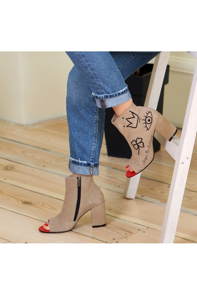 Buy Ankle boots suede embroidery, beige heel zipper open toe summer ankle boots