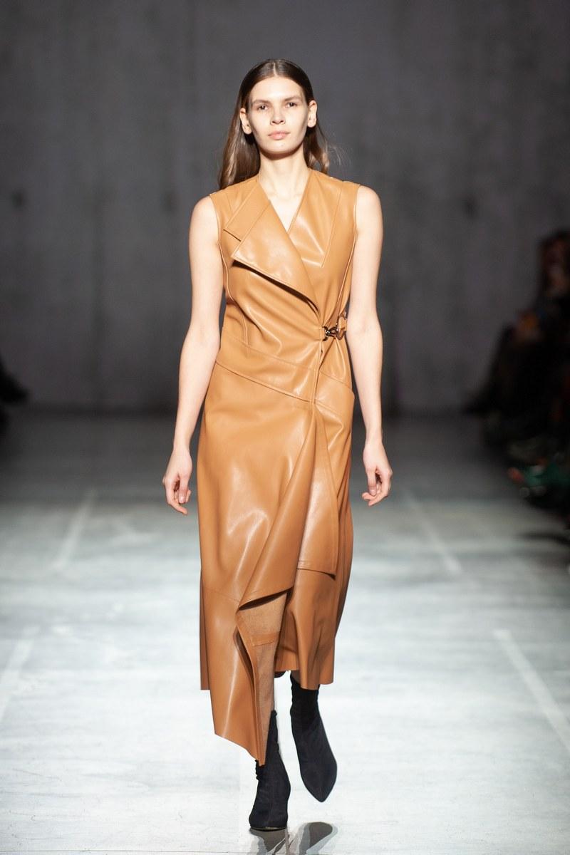 Buy Women's Sleeveless V-Neck Party Dress Leather Midi Beige Asymmetrical Dress