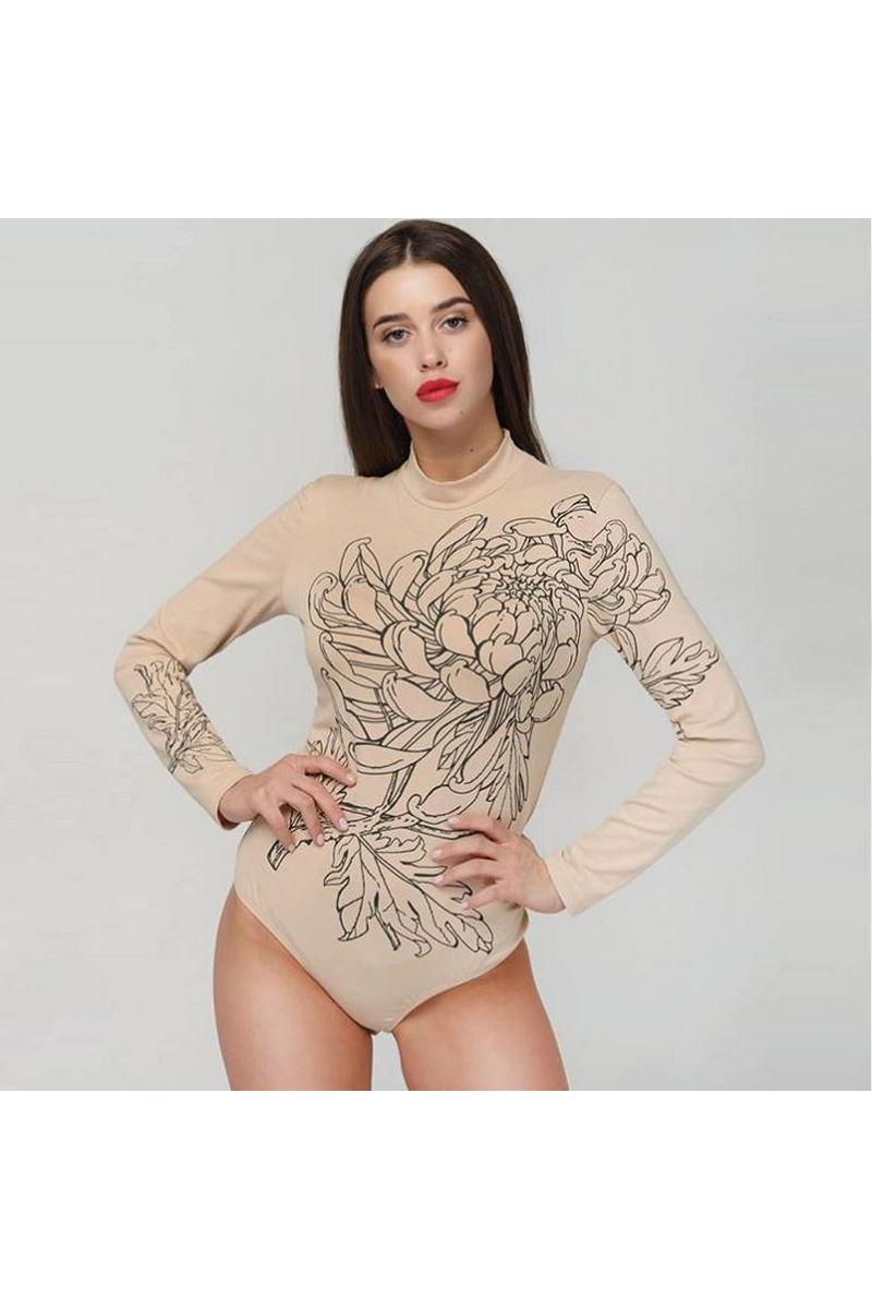 Buy Art body suit beige women long sleeve Bodysuit