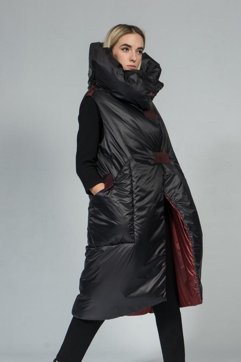 Buy Long black high collar vest, comfortable stylish warm puffer women vest