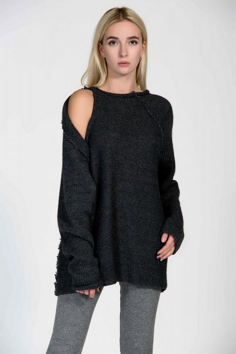 Buy Woolen open shoulder warm sweater, black women stylish loose winter sweater