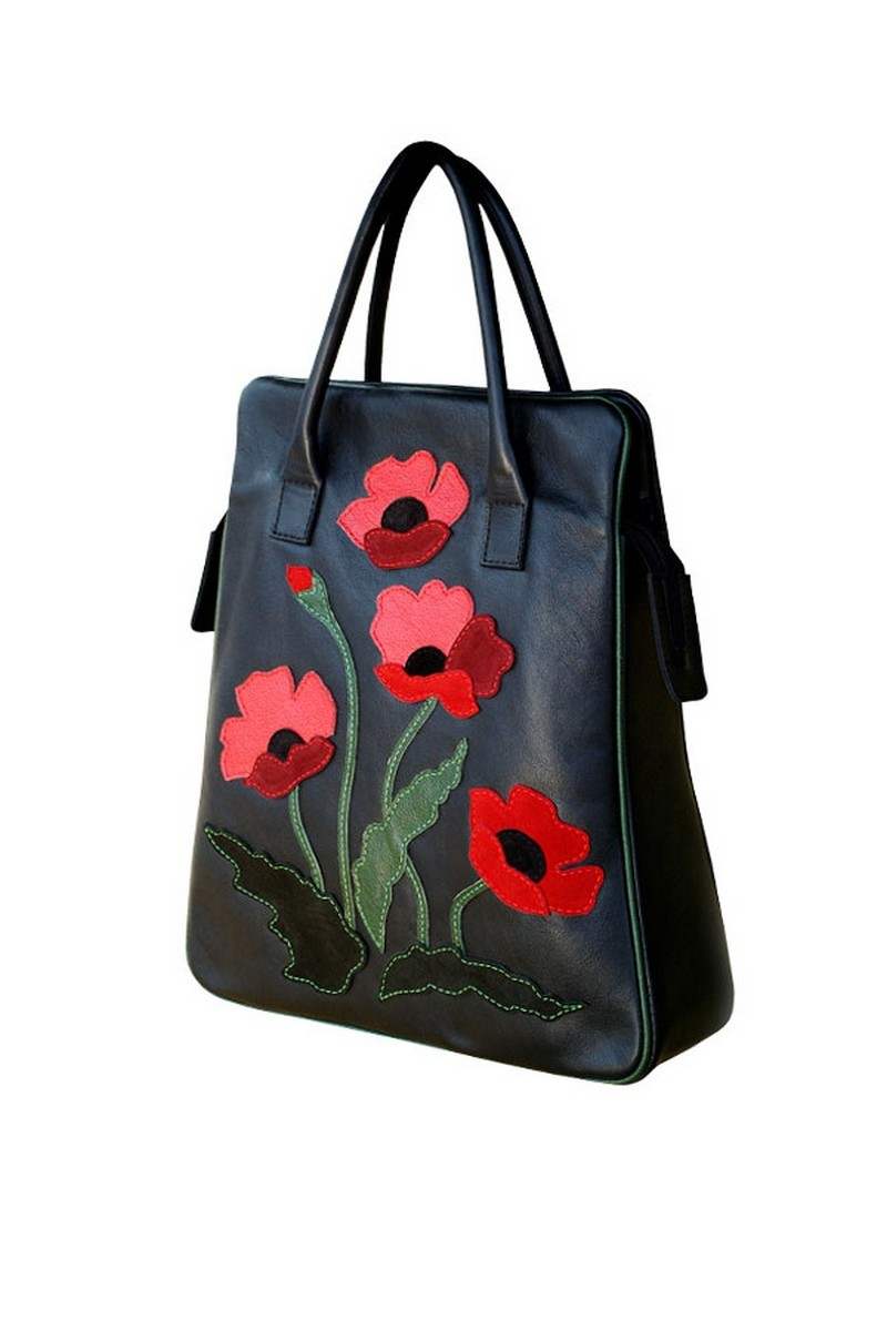 Black Flowers Poppies Leather Original Handmade Business Women Handbag