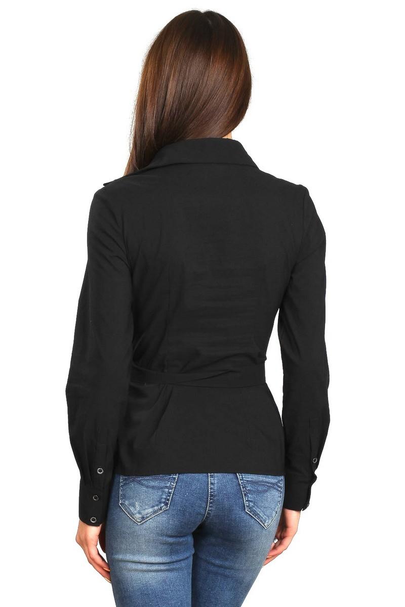 Black classik comfortable long sleeve cotton buttons office business blouse