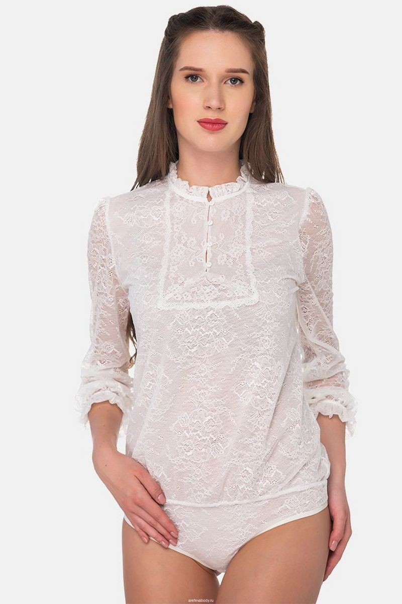 Buy Loose fit white lace bodysuit, buttons long sleeve blouse bodysuit, office comfortable business blouse bodysuit