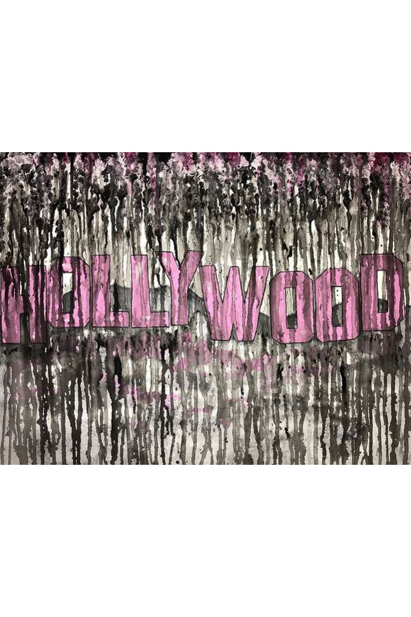 Buy Hollywood modern acrylic painting, Pink black art, Stylish interior painting