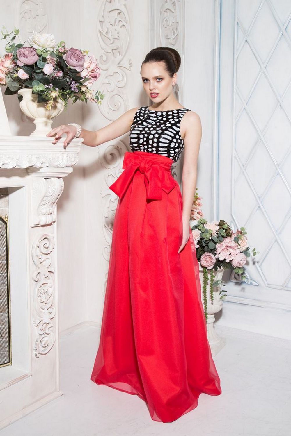 Buy Evening fluffy Maxi red skirt, Elegant party women`s skirt, Bow skirt