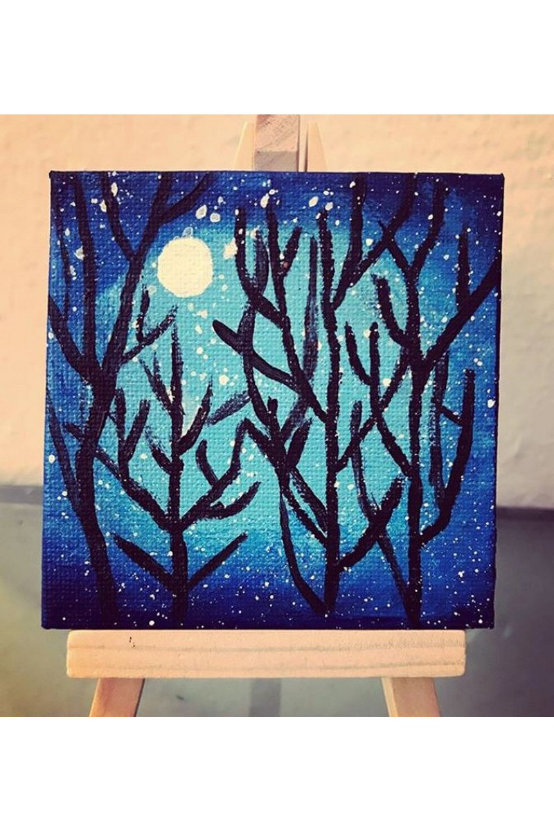 Buy Night forest blue mini canvas, acrylic painting, American modern art work
