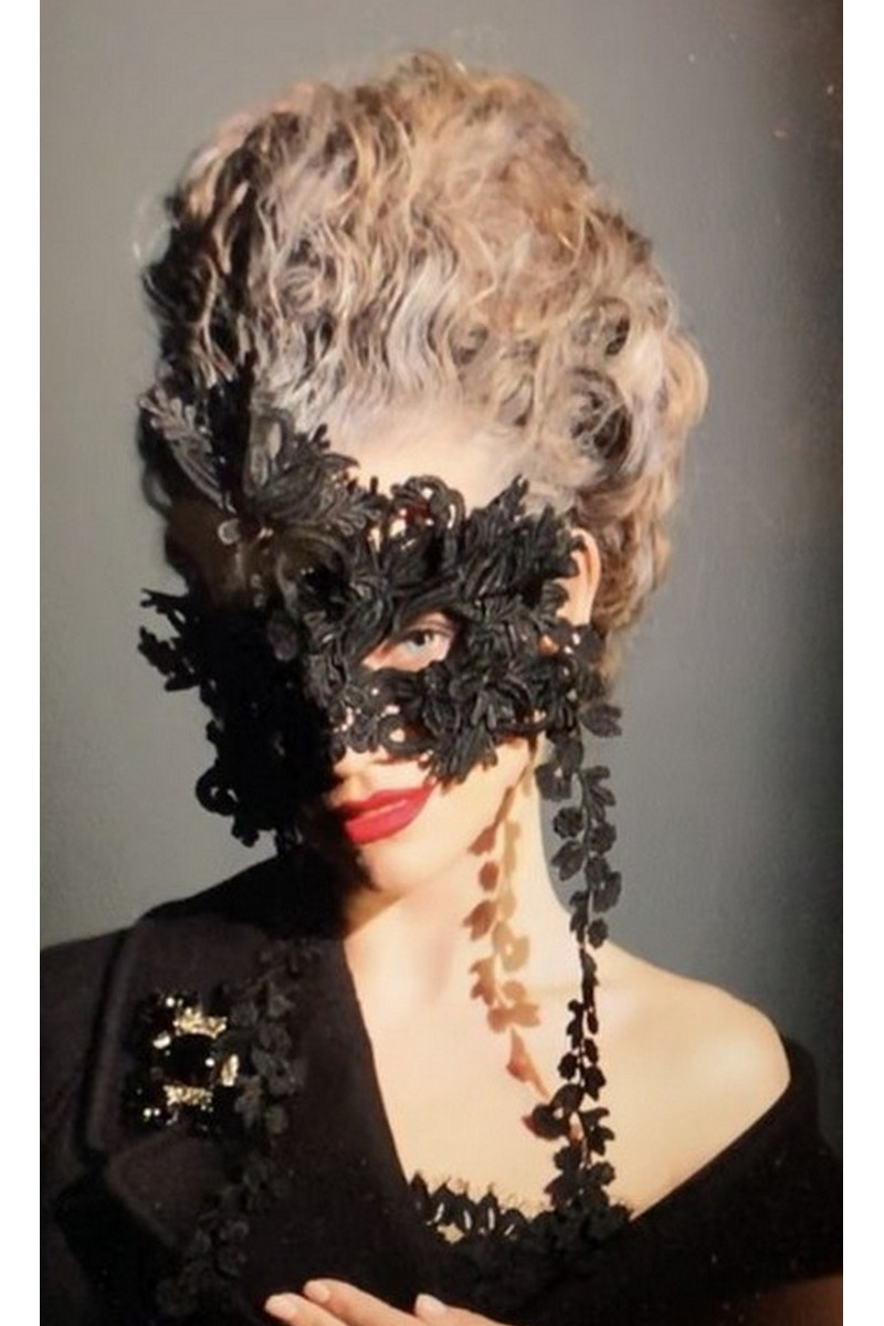 Buy Black women`s stylish extravagant mask in retro style, Designer Carnival mask for ladies
