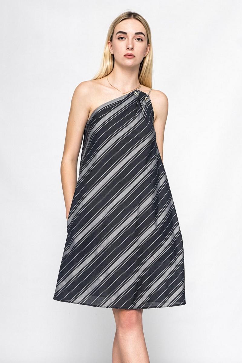 Unique One Shoulder Knee Length Dress,Unique One Shoulder Knee Length Dress,silk summer dress,silk summer dress,