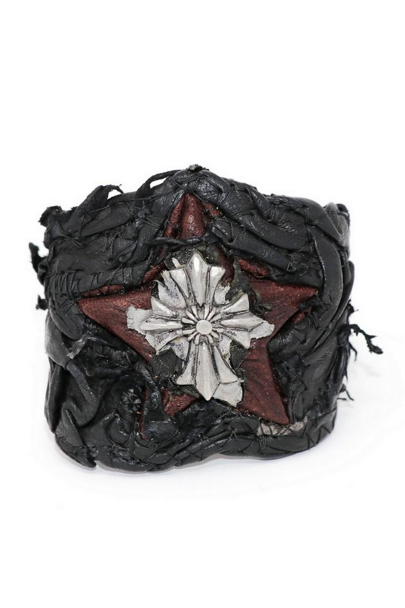 Buy Cross Black & Burgundy Galaxy Leather Wristband, Rock Handmade bracelet