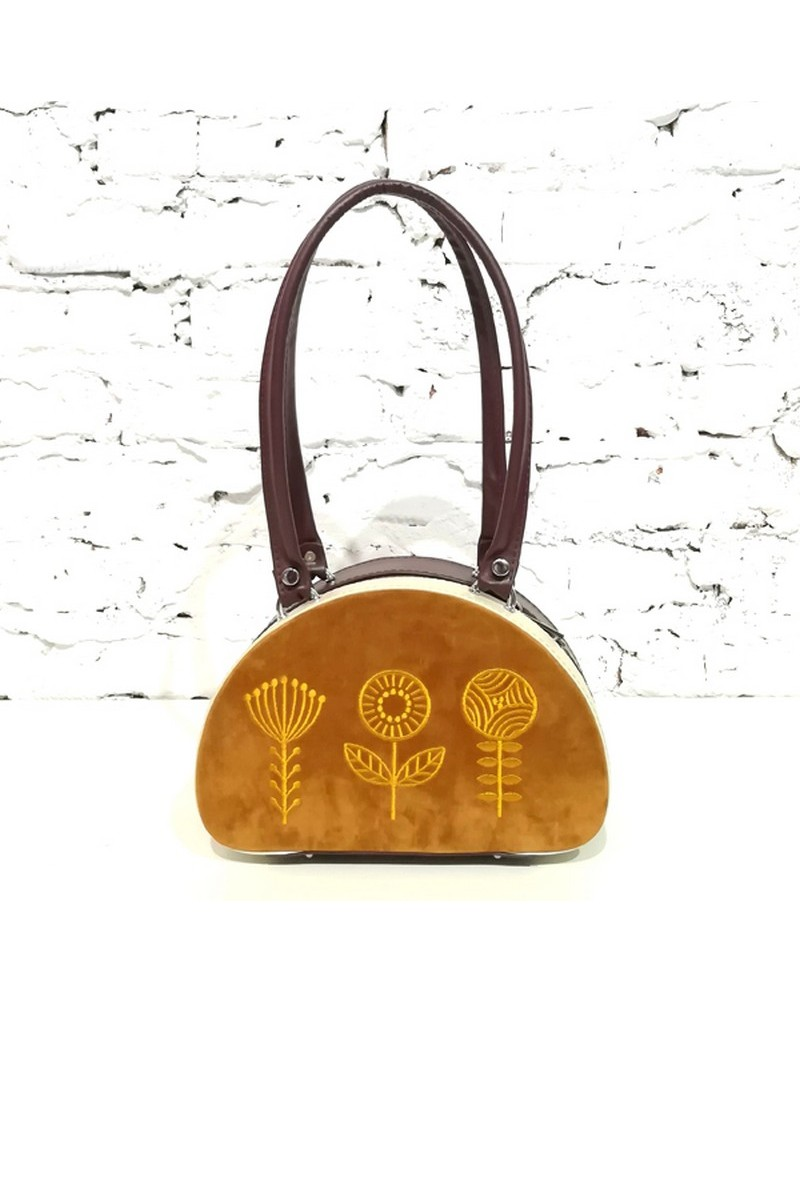 Buy Brown semicircular stiff suede bag, embroidery stylish women shoulder handbag