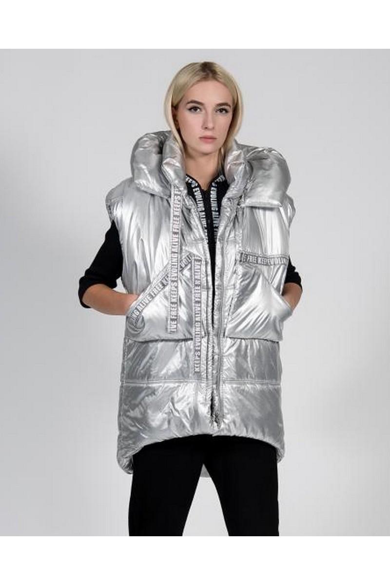 Buy Hooded silver warm stylish vest, voluminous comfortable winter women vest