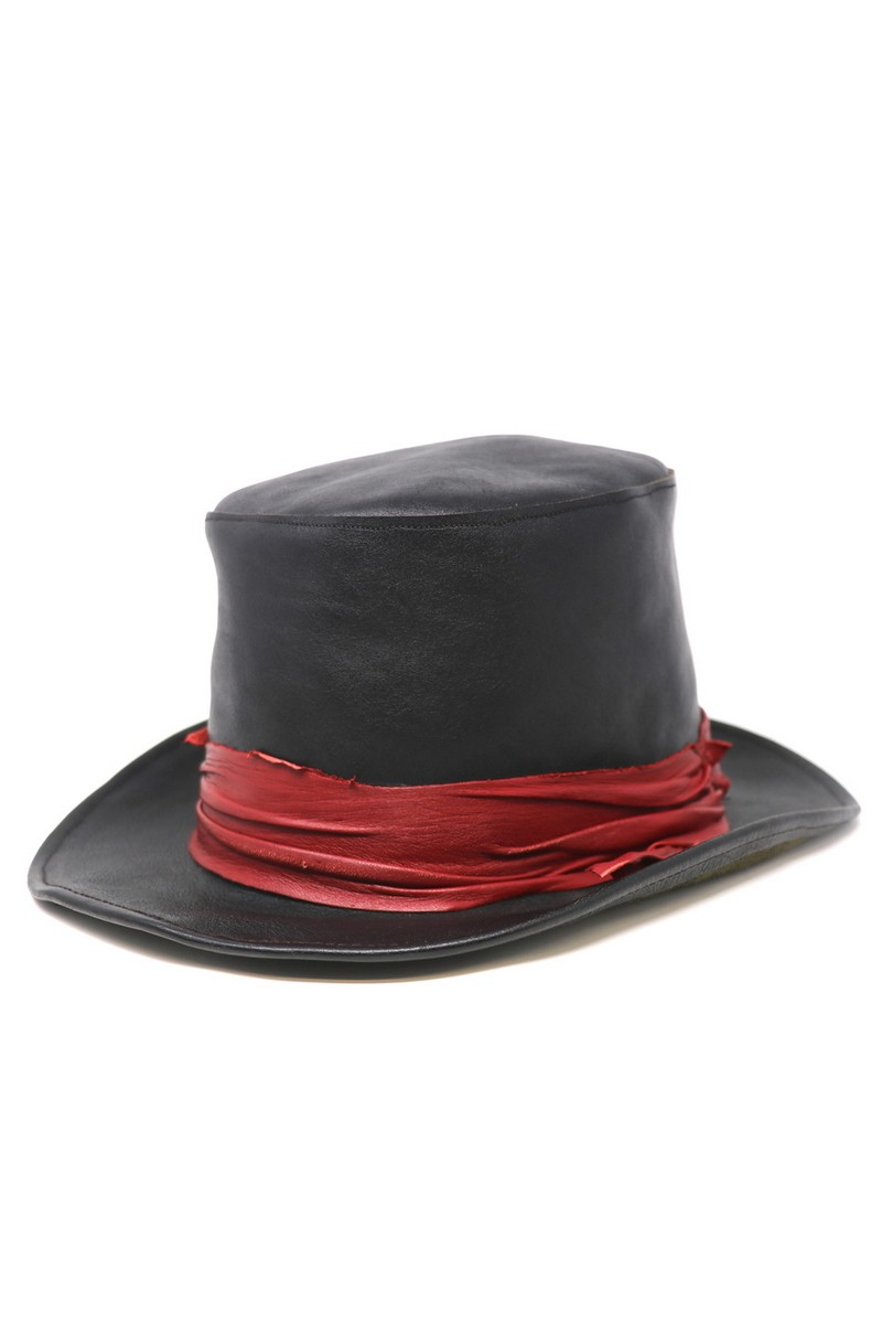 Buy Red Band Leather Top-Hat, Black Handmade Unique Exclusive Hat