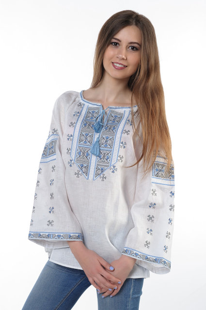 Buy Blouse Ukrainian women's flax with embroidery