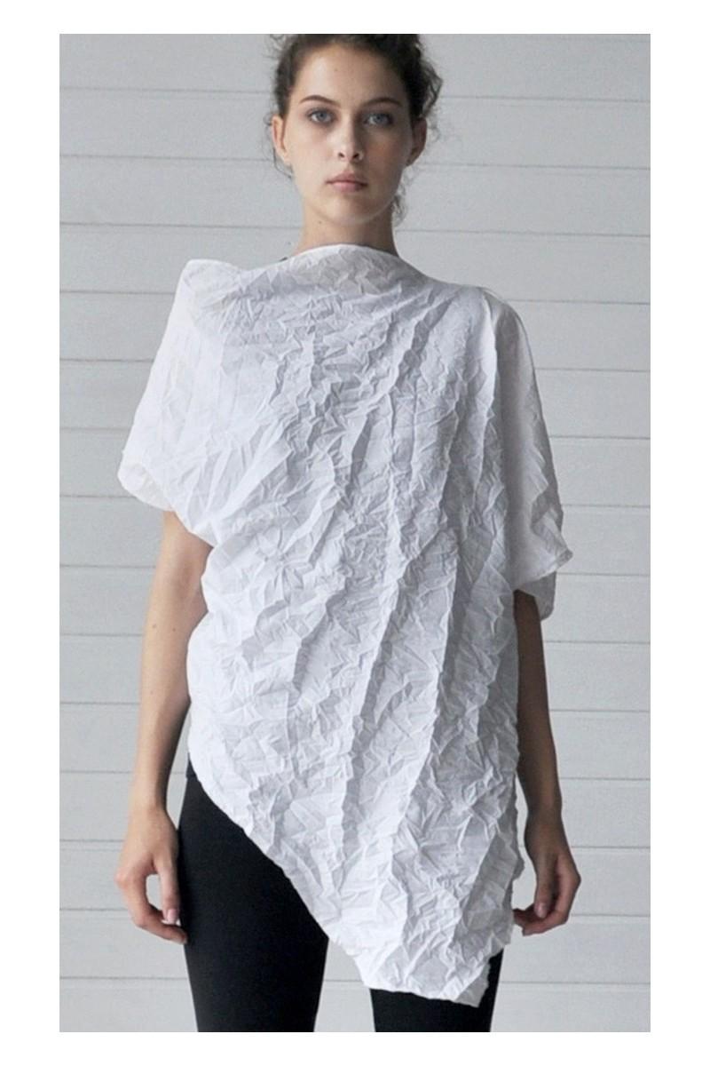 Buy T-shirt asymmetric white crash cotton, party club fwstival unique design clothes