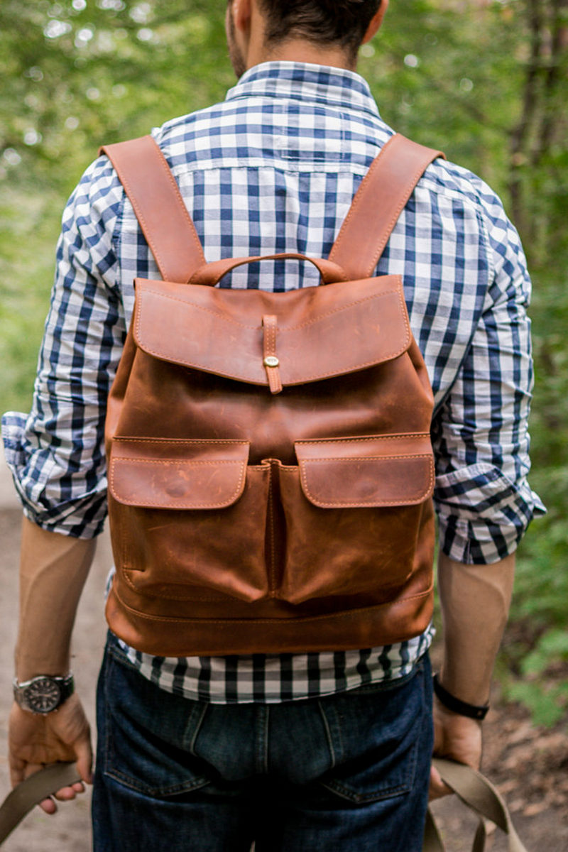 Buy Comfortable roomy leather handmade backpack, designer travel daily backpack