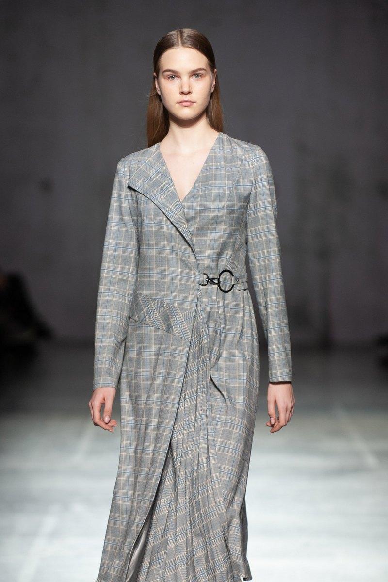 Buy Elegant Plaid Dress Maxi Grey Long sleeve Belt V neck Casual Event Dress