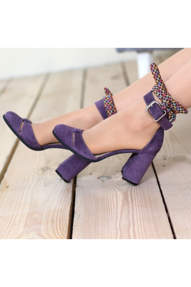 Buy Purple High Heel Party Shoes, Closed Round Toe Strap Women designer stylish shoes