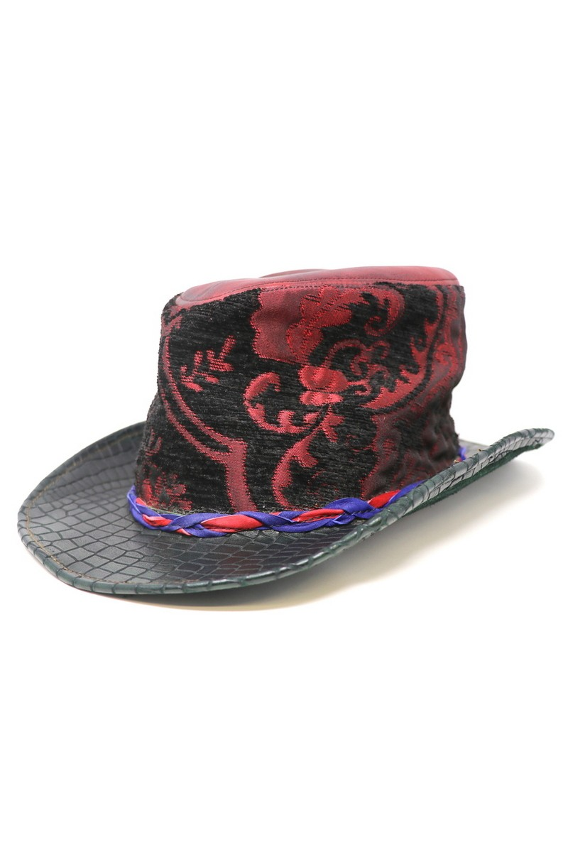 Buy Red Black Fabric Fedora, Handmade Unique Exclusive Festival Casual Party Hat