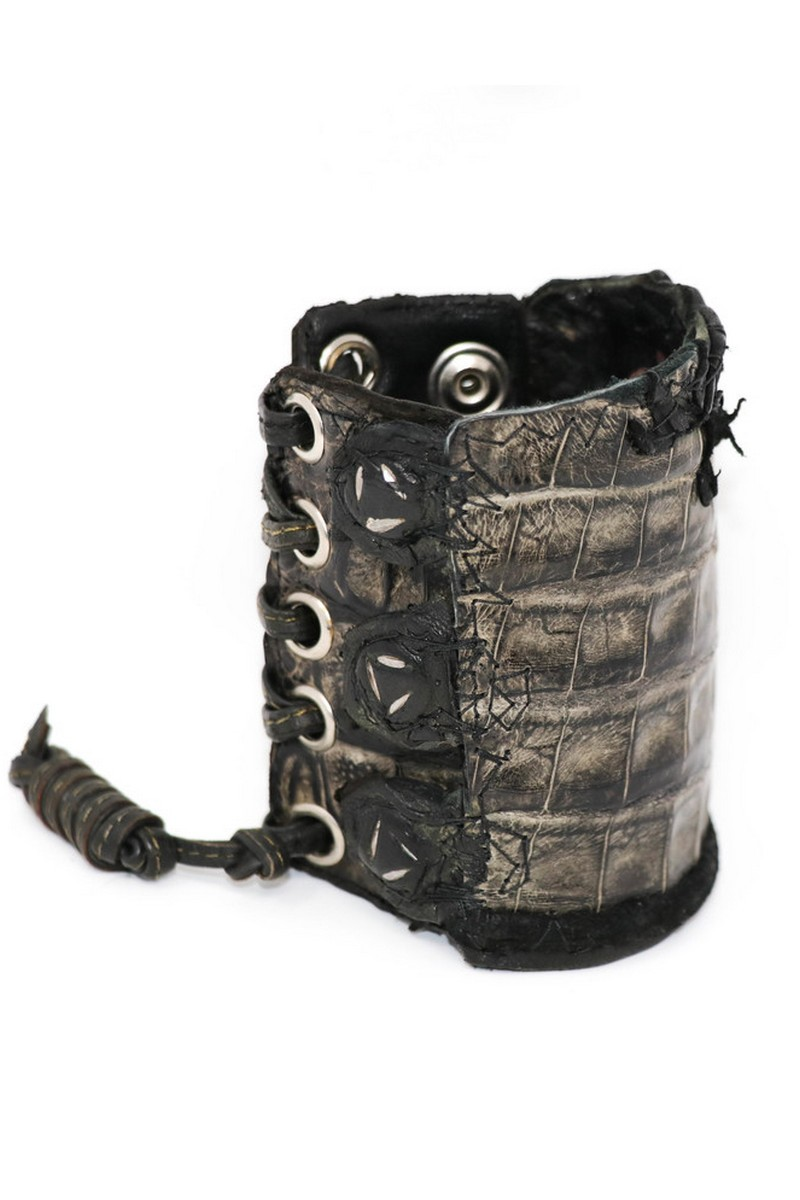 Buy Alligator Leather combination Braided Leather Wristband, Black Rock Punk bracelet