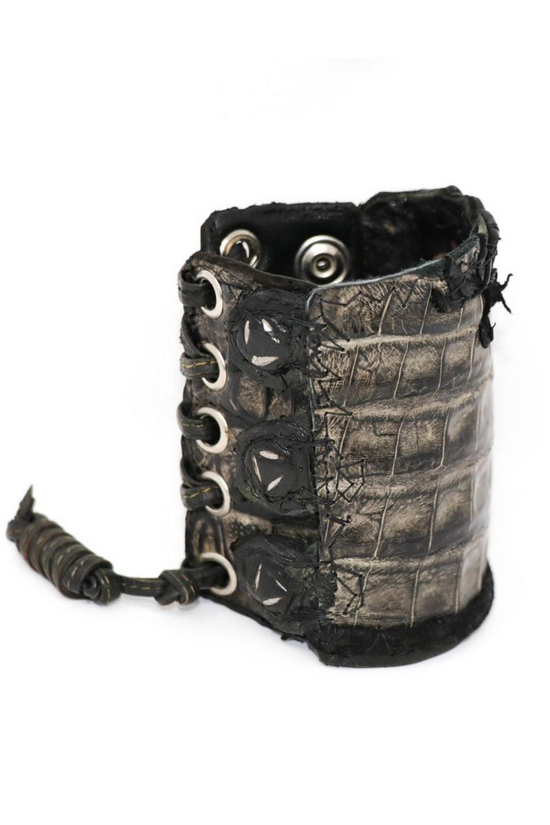 Buy Alligator Leather combination Braided Leather Wristband, Black Rock Punk bracelet