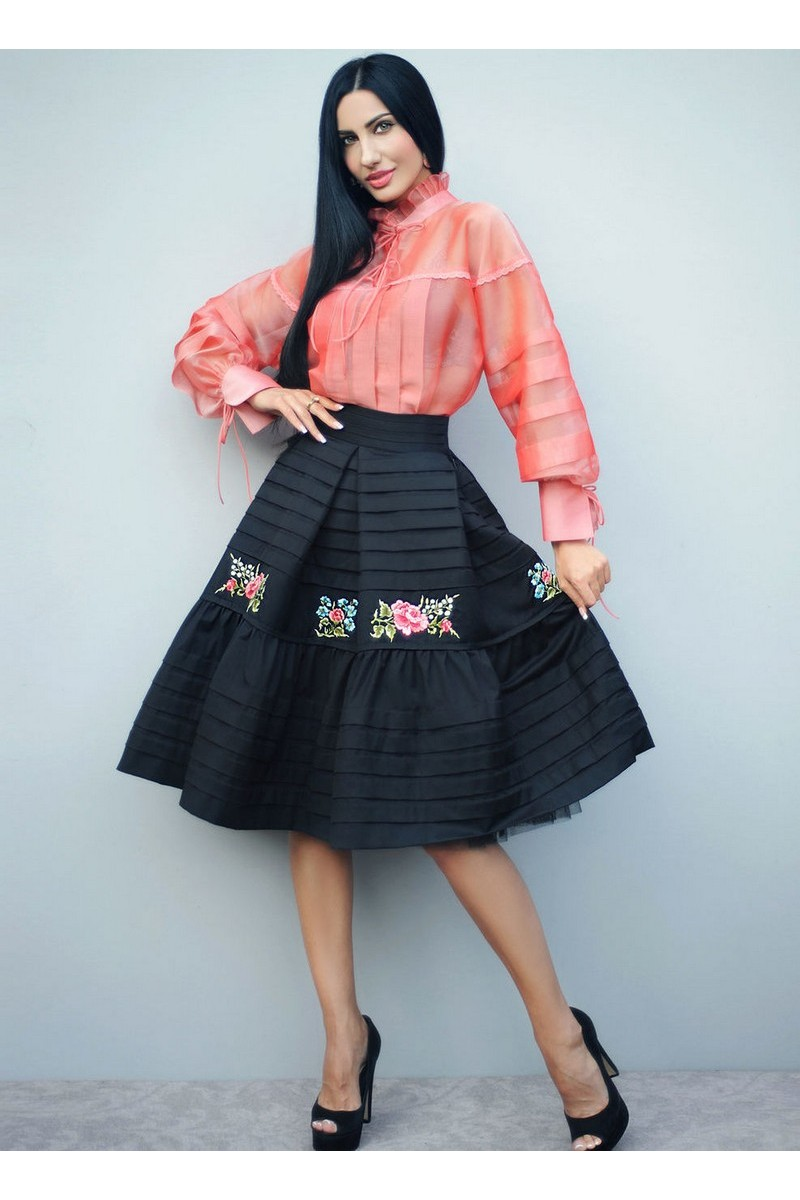 Buy Elegant fluffy black cotton tulle evening skirt flower hand embroidery